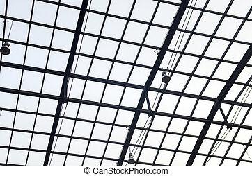 建物, オフィス, 金属, 屋根, ガラス, 内部