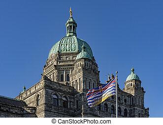 建物, カナダ, 議会, コロンビア, bc州, イギリス, ビクトリア, 旗
