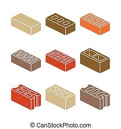 建物, カラフルである, アイコン, レンガ, -, 材料, 背景, 白, contruction