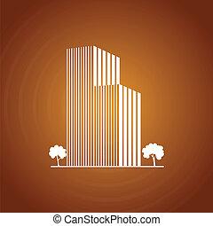 建物, カラメル, 上に, 木