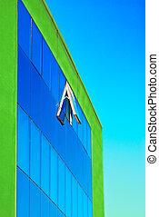 建物, ガラス, 奇妙, 緑