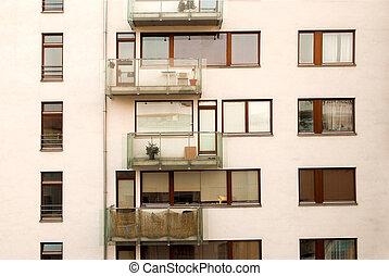 建物, ガラス, 部分, 現代, バルコニー