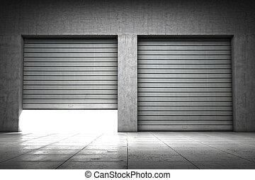 建物, ガレージ, 作られた, コンクリート