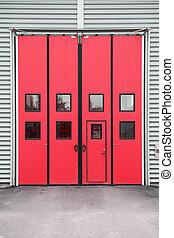 建物, ガレージ, 倉庫, ドア, 赤