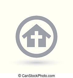 建物, キリスト教徒, シンボル。, 団体, 教会, 家, icon., 宗教