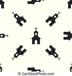 建物, キリスト教徒, バックグラウンド。, パターン, 隔離された, イラスト, 灰色, 宗教, ベクトル, seamless, 教会, 白, church., アイコン