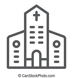 建物, キリスト教徒, 線である, 印, パターン, バックグラウンド。, ベクトル, 建築, 教会, グラフィックス, アイコン, 線, 白