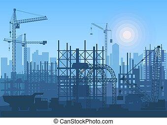 建物, クレーン, サイト。, 建設, 下に, タワー, construction.