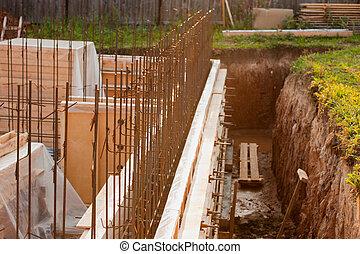 建物, コンクリート, サイト, 基礎, 型枠