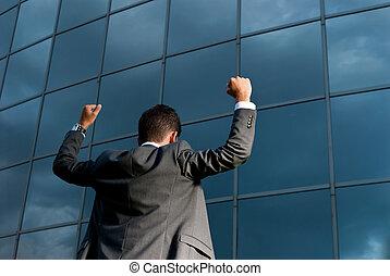 建物, ゴール, 成功した, 現代, 若い, 祝う, 背景, ビジネスマン