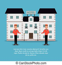建物, サービス, ホテル, ベクトル, ボーイ, アイコン