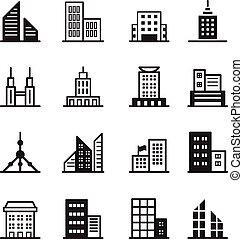 建物, シンボル, ベクトル, イラスト, アイコン