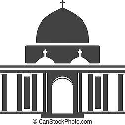 建物, シンボル, ベクトル, 黒, 建築, 歴史的, 教会, アイコン, 建物, チャペル