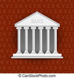建物, シンボル, 銀行, 背景, 通貨