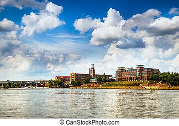 建物, ジョージア, ダウンタウンに, riverwalk, 前方へ, コロンブス