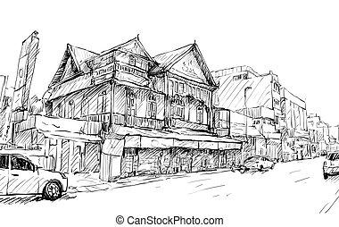 建物, スケッチ, 古い, ショー, 通り, アジア, ベクトル, イラスト, 都市の景観, タイ, スタイル