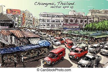 建物, スケッチ, 通り, ショー, スタイル, アジア, trafic, ベクトル, イラスト, タイ, 都市の景観