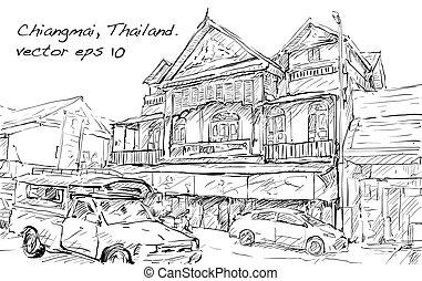 建物, スケッチ, 通り, ショー, chiangmai, イラスト, ベクトル, タイ, 都市の景観