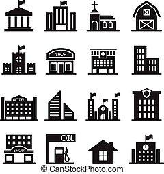 建物, セット, アイコン, イラスト, ベクトル, ランドマーク