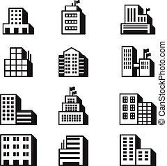 建物, セット, アイコン, シンボル, イラスト, ベクトル