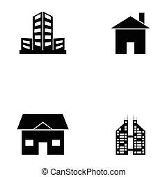建物, セット, アイコン
