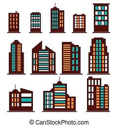 建物, セット, カラフルである, アイコン