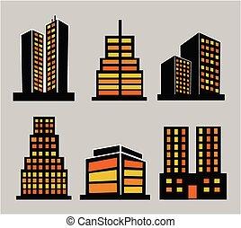建物, セット, コマーシャル, アイコン