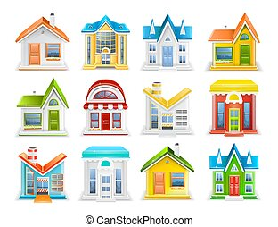 建物, セット, 別, イラスト, 家, ベクトル, タイプ, アイコン