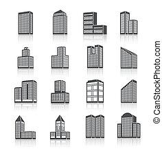 建物, セット, 大建造物, アイコン