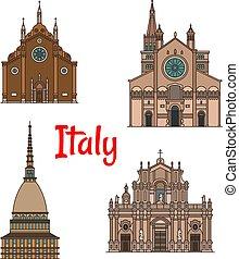 建物, セット, 旅行, ランドマーク, イタリア語, アイコン