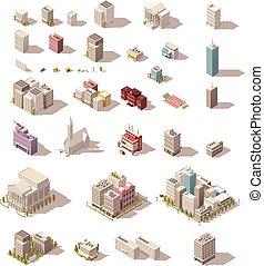 建物, セット, 等大, poly, ベクトル, 低い