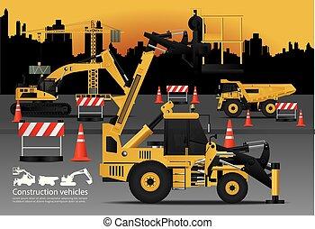 建物, セット, 車, イラスト, 建設, ベクトル, 背景