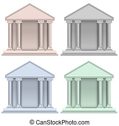 建物, セット, 銀行, ベクトル, アイコン