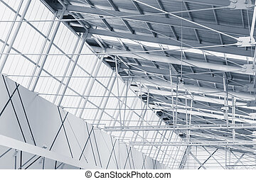 建物, セービング, eco, フレーム, 現代, 金属, 屋根, 半透明, 内部, エネルギー, 構造, 建築