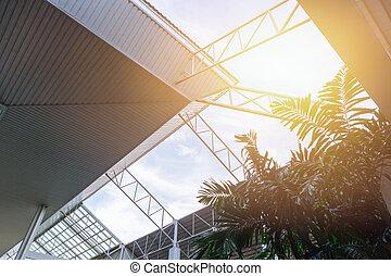 建物, セービング, eco, 太陽, エネルギー, 現代, 屋根, によって, 建築, ライト
