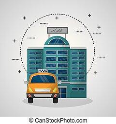 建物, タクシー, サービス, 旅行, ホテル, ファサド