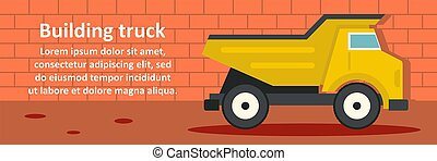 建物, トラック, 横, 概念, 旗