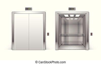 建物, ドア, オフィス, クロム, 金属, 隔離された, エレベーター, 現実的, ベクトル, 背景, 開いた, 閉じられた