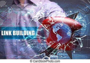 建物, ネットワーク, ビジネス, security., リンク, インターネット技術