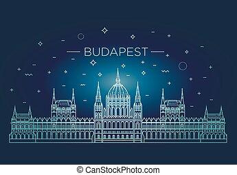 建物, ハンガリー人, 旅行, 薄くなりなさい, 歴史的, ランドマーク, 線, アイコン