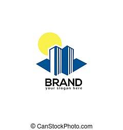 建物, バックグラウンド。, 白, ベクトル, ロゴ