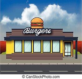 建物, バーガー, 店, 背景