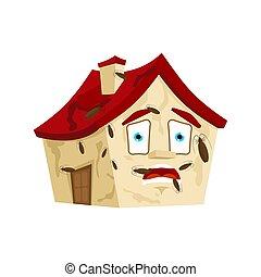 建物, パニックに陥る, ゴキブリ, 家, style., isolated., ベクトル, infected, 昆虫, 家, 漫画