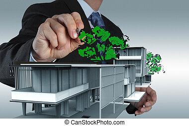 建物, ビジネスマン, 引く, 開発