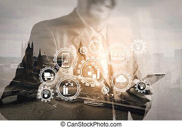 建物, フィルター, ロンドン, ダブル, ビジネスマン, さらされること, 都市, 光景, 川, bigben, 成功, 彼の, 開いている手, 効果, 前部