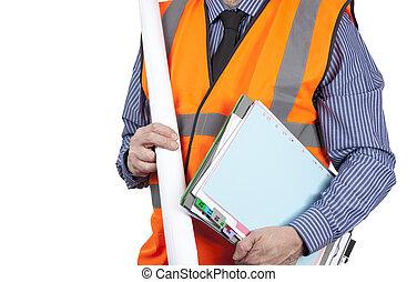 建物, フォルダー, ベスト, 視界, 測量技師, 届く, 図画, オレンジ