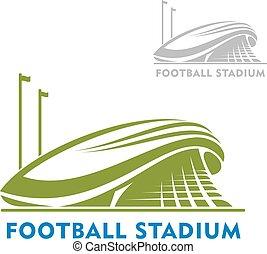 建物, フットボール, 旗, 競技場
