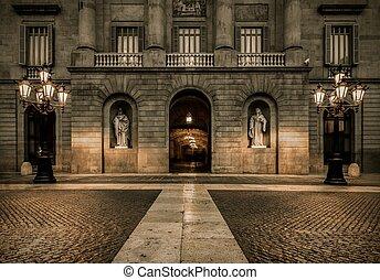 建物, プラザ, la, de, バルセロナ, constitucion
