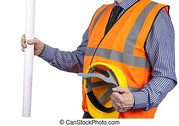 建物, ヘルメット, ベスト, 視界, 測量技師, 図画, 保有物, オレンジ