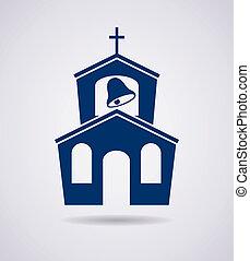 建物, ベクトル, アイコン, 教会